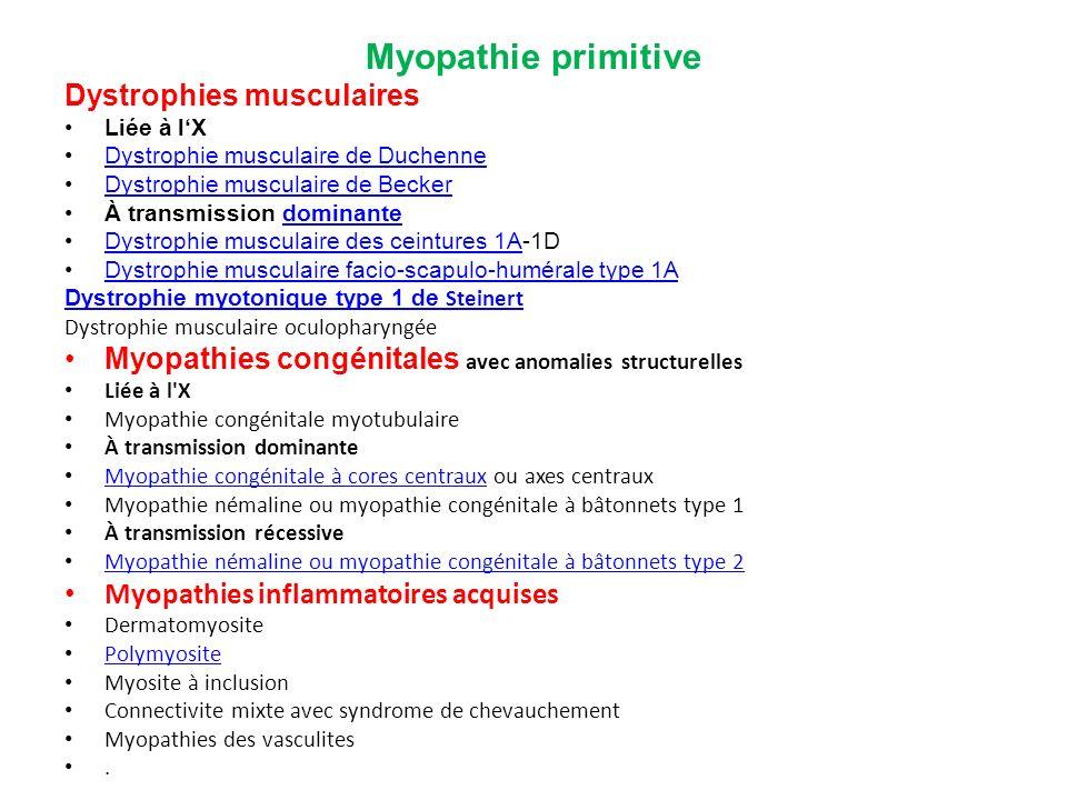 Myopathie primitive Dystrophies musculaires Liée à lX Dystrophie musculaire de Duchenne Dystrophie musculaire de Becker À transmission dominantedomina