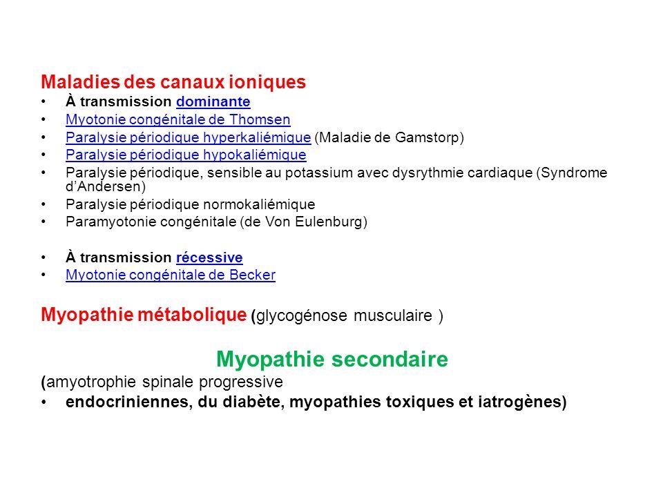 Maladies des canaux ioniques À transmission dominantedominante Myotonie congénitale de Thomsen Paralysie périodique hyperkaliémique (Maladie de Gamsto