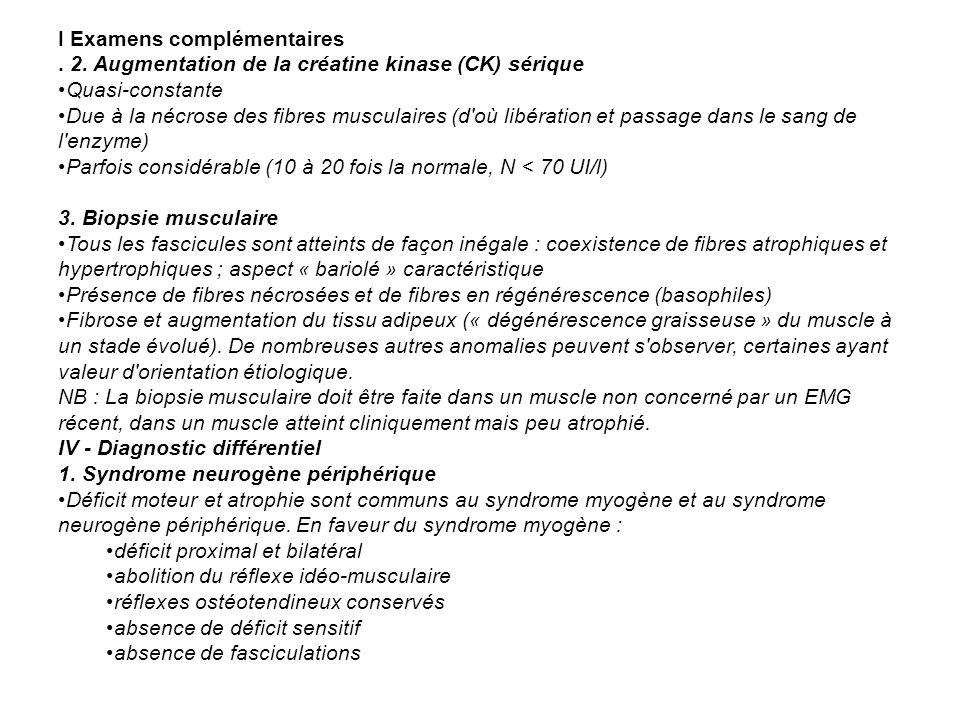 I Examens complémentaires. 2. Augmentation de la créatine kinase (CK) sérique Quasi-constante Due à la nécrose des fibres musculaires (d'où libération