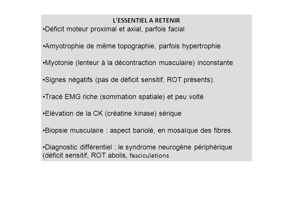 L'ESSENTIEL A RETENIR Déficit moteur proximal et axial, parfois facial Amyotrophie de même topographie, parfois hypertrophie Myotonie (lenteur à la dé