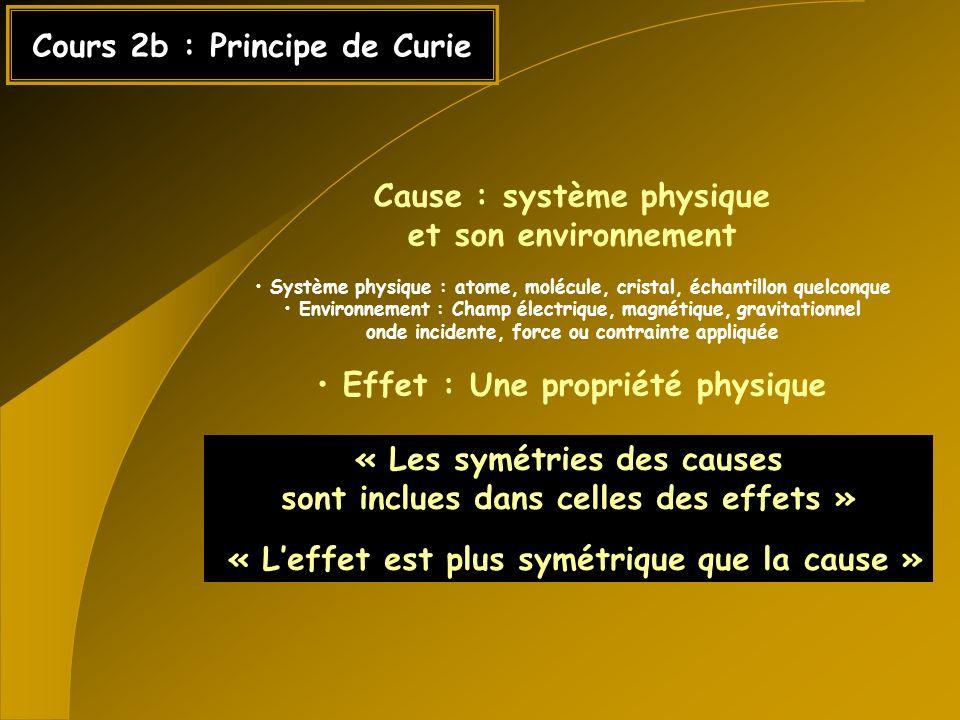 Cours 2b : Principe de Curie Cause : système physique et son environnement Système physique : atome, molécule, cristal, échantillon quelconque Environ
