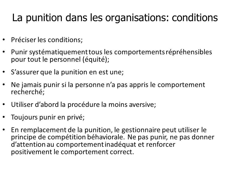 La punition dans les organisations: conditions Préciser les conditions; Punir systématiquement tous les comportements répréhensibles pour tout le pers