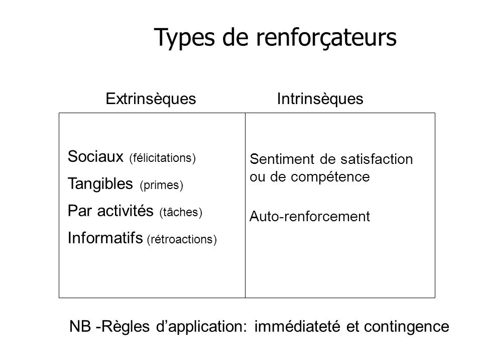 Types de renforçateurs ExtrinsèquesIntrinsèques Sociaux (félicitations) Tangibles (primes) Par activités (tâches) Informatifs (rétroactions) Sentiment