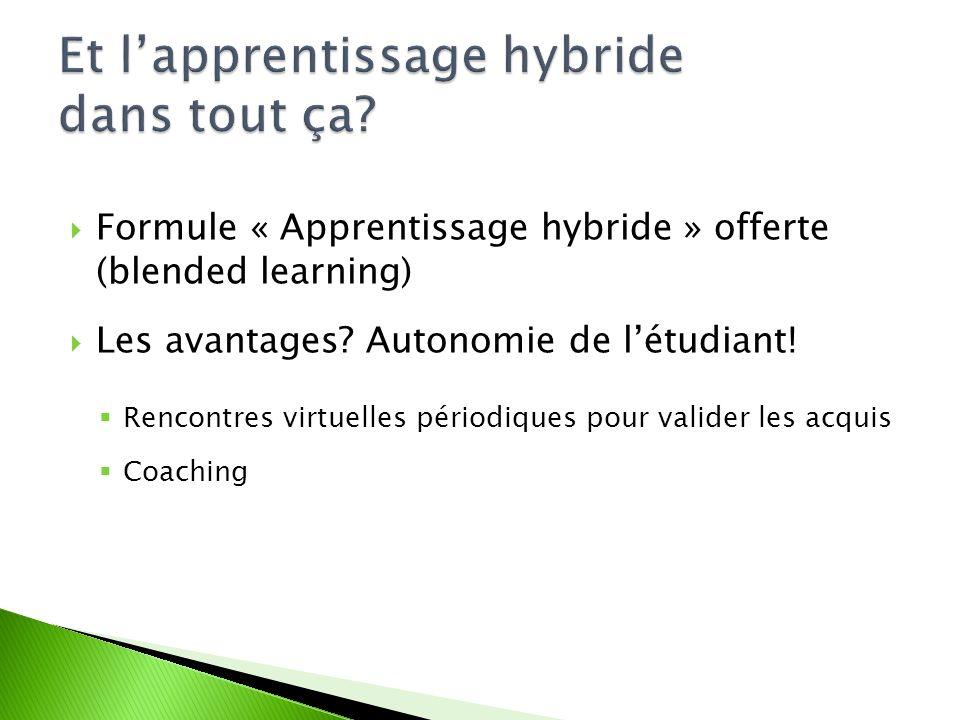 Formule « Apprentissage hybride » offerte (blended learning) Les avantages.