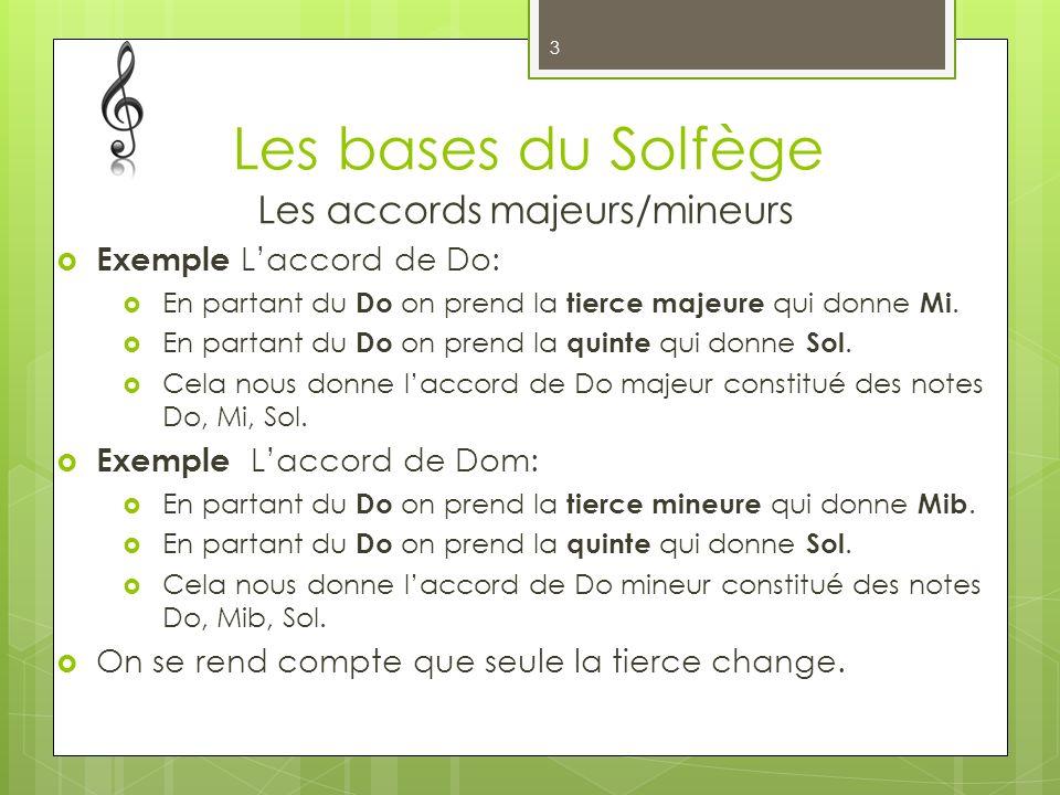 Les bases du Solfège Les accords majeurs/mineurs Exemple Laccord de Do: En partant du Do on prend la tierce majeure qui donne Mi. En partant du Do on