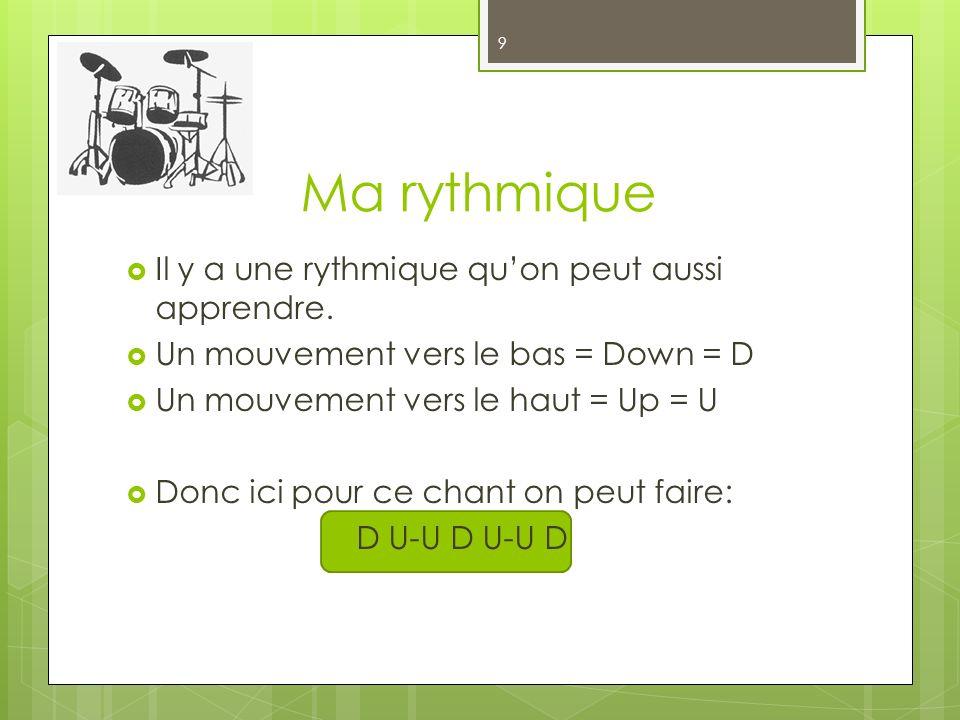 Ma rythmique Il y a une rythmique quon peut aussi apprendre. Un mouvement vers le bas = Down = D Un mouvement vers le haut = Up = U Donc ici pour ce c