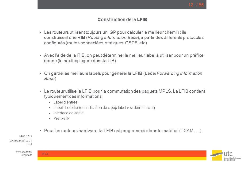 09/12/2013 Christophe FILLOT DSI www.utc.fr/dsi cf@utc.fr MPLS / 5612 Construction de la LFIB Les routeurs utilisent toujours un IGP pour calculer le