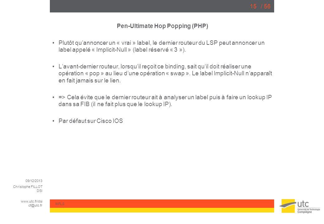 09/12/2013 Christophe FILLOT DSI www.utc.fr/dsi cf@utc.fr MPLS / 5615 Pen-Ultimate Hop Popping (PHP) Plutôt quannoncer un « vrai » label, le dernier r