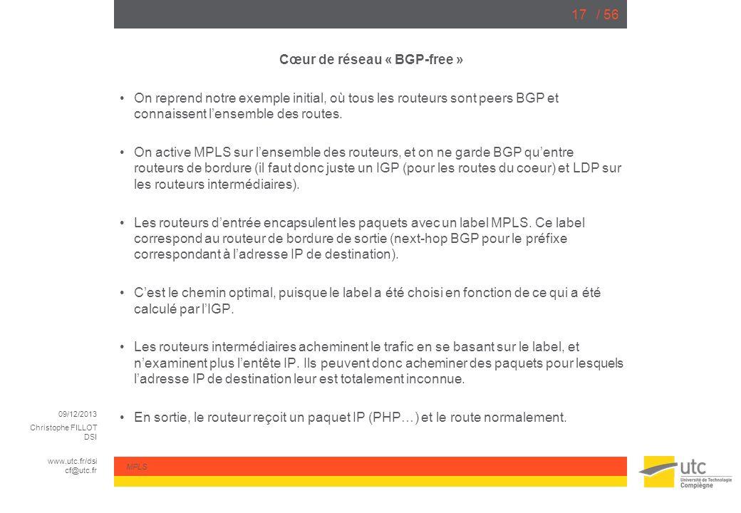 09/12/2013 Christophe FILLOT DSI www.utc.fr/dsi cf@utc.fr MPLS / 5617 Cœur de réseau « BGP-free » On reprend notre exemple initial, où tous les routeu