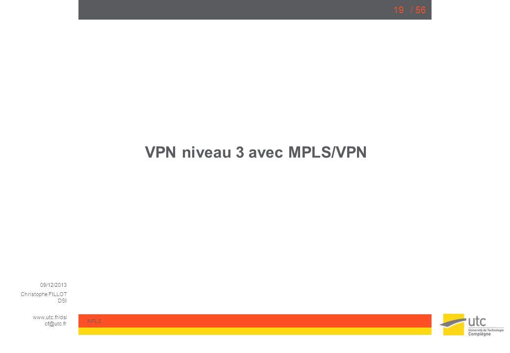 09/12/2013 Christophe FILLOT DSI www.utc.fr/dsi cf@utc.fr MPLS / 5619 VPN niveau 3 avec MPLS/VPN