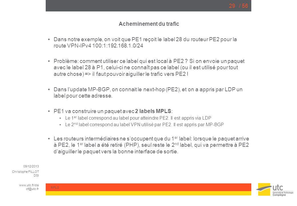09/12/2013 Christophe FILLOT DSI www.utc.fr/dsi cf@utc.fr MPLS / 5629 Acheminement du trafic Dans notre exemple, on voit que PE1 reçoit le label 28 du