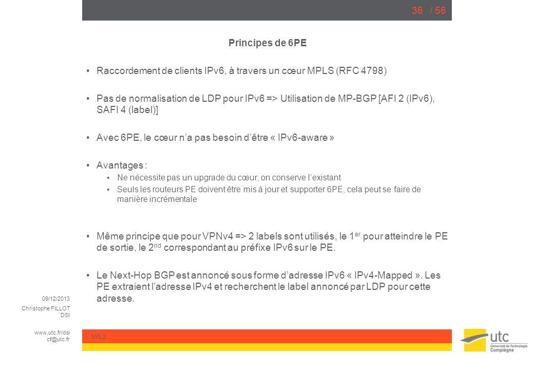 09/12/2013 Christophe FILLOT DSI www.utc.fr/dsi cf@utc.fr MPLS / 5636 Principes de 6PE Raccordement de clients IPv6, à travers un cœur MPLS (RFC 4798)
