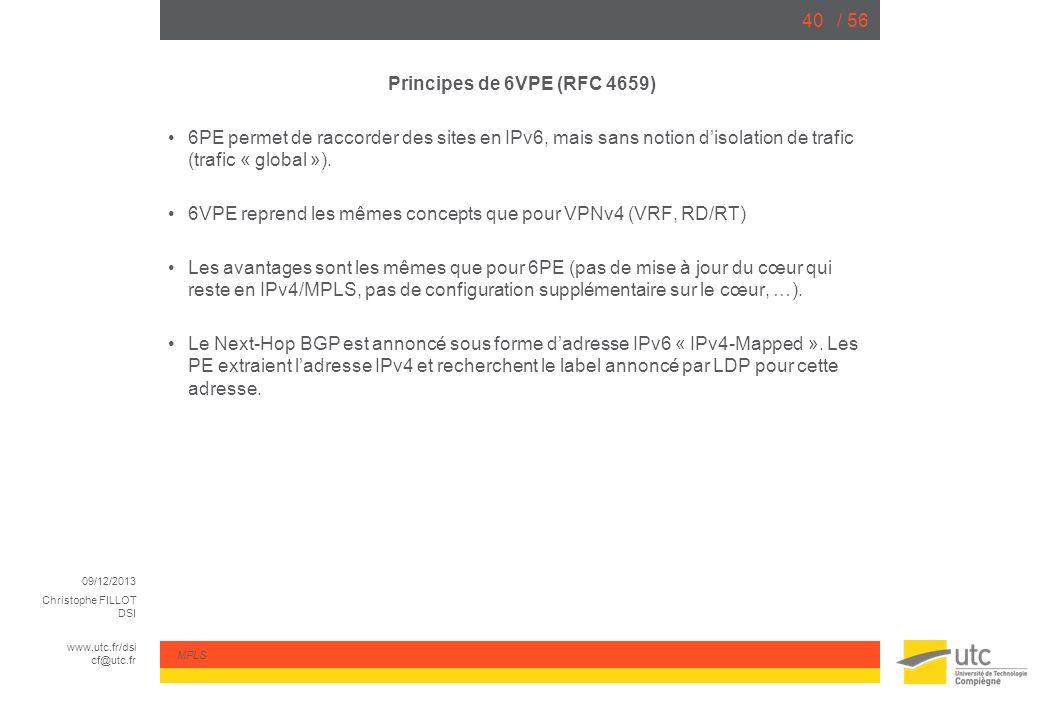 09/12/2013 Christophe FILLOT DSI www.utc.fr/dsi cf@utc.fr MPLS / 5640 Principes de 6VPE (RFC 4659) 6PE permet de raccorder des sites en IPv6, mais san