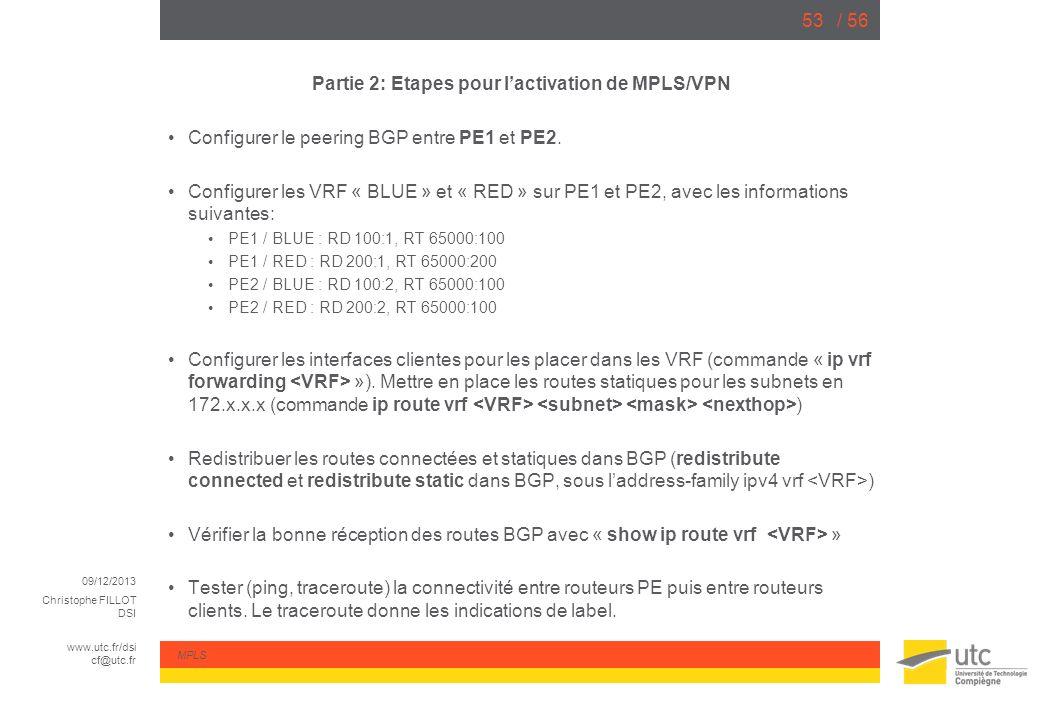 09/12/2013 Christophe FILLOT DSI www.utc.fr/dsi cf@utc.fr MPLS / 5653 Partie 2: Etapes pour lactivation de MPLS/VPN Configurer le peering BGP entre PE