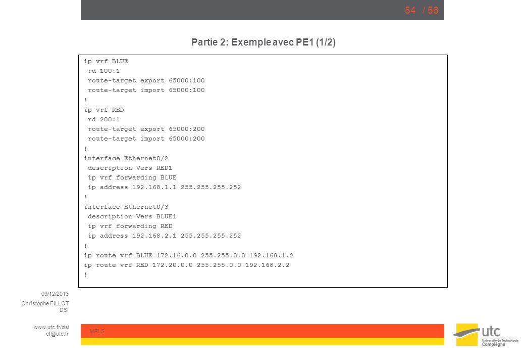 09/12/2013 Christophe FILLOT DSI www.utc.fr/dsi cf@utc.fr MPLS / 5654 Partie 2: Exemple avec PE1 (1/2) ip vrf BLUE rd 100:1 route-target export 65000: