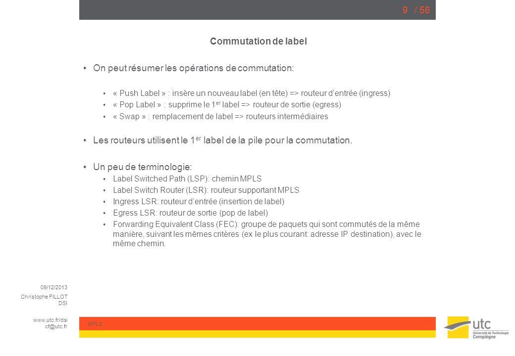 09/12/2013 Christophe FILLOT DSI www.utc.fr/dsi cf@utc.fr MPLS / 5650 Partie 0: Configuration backbone Initialement, on a préparé la configuration suivante: Routeurs P et PE configurés avec: Loopbacks, Interconnexions IP (/30) OSPF (une seule aire, laire 0) Les routeurs clients, avec: Linterconnexion IP avec le routeur PE correspondant Une route par défaut vers le PE Une loopback pour simuler le LAN Au départ, les routeurs clients (CE) nont bien sûr pas de connectivité entre eux.