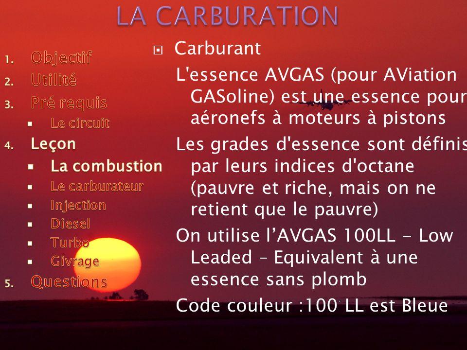 Carburant L'essence AVGAS (pour AViation GASoline) est une essence pour aéronefs à moteurs à pistons Les grades d'essence sont définis par leurs indic