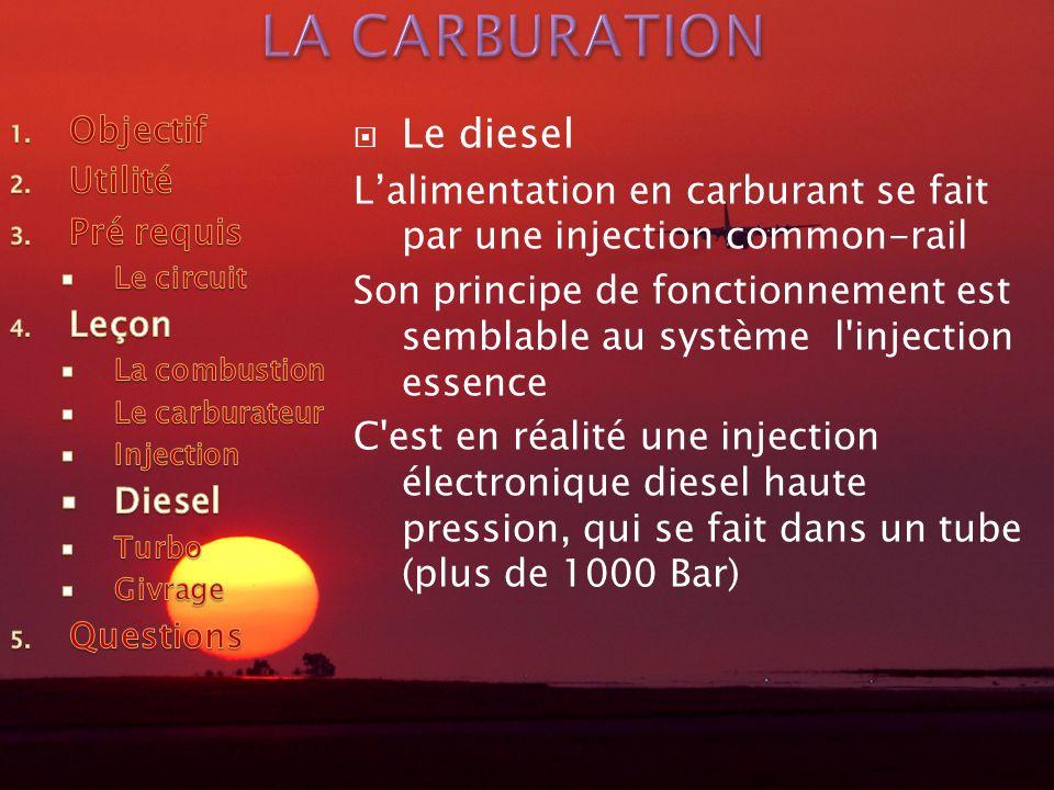Le diesel Lalimentation en carburant se fait par une injection common-rail Son principe de fonctionnement est semblable au système l injection essence C est en réalité une injection électronique diesel haute pression, qui se fait dans un tube (plus de 1000 Bar)