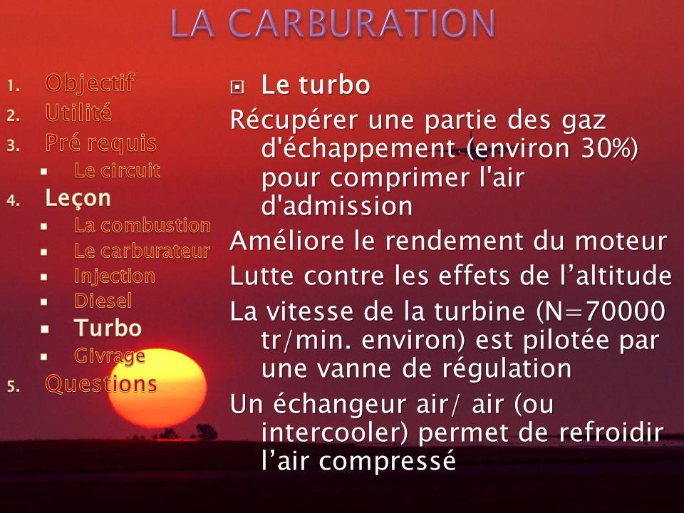 Le turbo Le turbo Récupérer une partie des gaz d échappement (environ 30%) pour comprimer l air d admission Améliore le rendement du moteur Lutte contre les effets de laltitude La vitesse de la turbine (N=70000 tr/min.