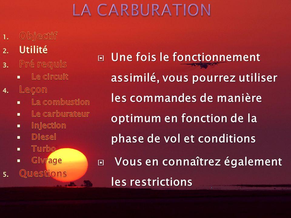 Une fois le fonctionnement assimilé, vous pourrez utiliser les commandes de manière optimum en fonction de la phase de vol et conditions Une fois le f