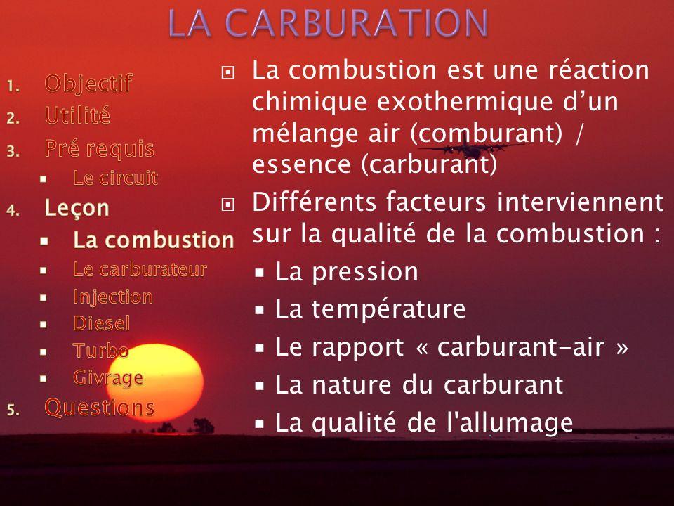 La combustion est une réaction chimique exothermique dun mélange air (comburant) / essence (carburant) Différents facteurs interviennent sur la qualité de la combustion : La pression La température Le rapport « carburant-air » La nature du carburant La qualité de l allumage