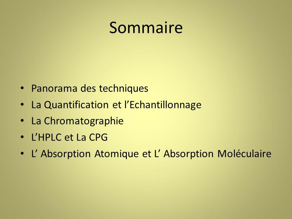 Sommaire Panorama des techniques La Quantification et lEchantillonnage La Chromatographie LHPLC et La CPG L Absorption Atomique et L Absorption Moléculaire