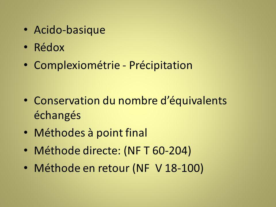 Acido-basique Rédox Complexiométrie - Précipitation Conservation du nombre déquivalents échangés Méthodes à point final Méthode directe: (NF T 60-204) Méthode en retour (NF V 18-100)