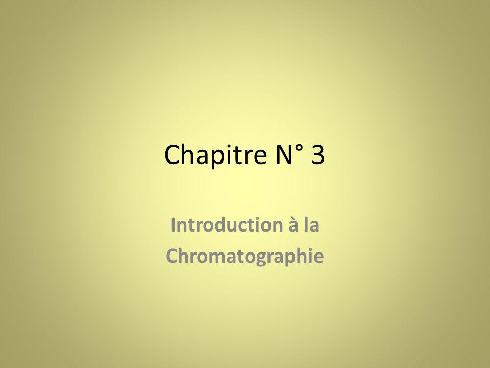 Chapitre N° 3 Introduction à la Chromatographie