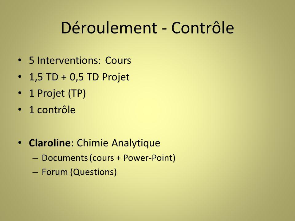Déroulement - Contrôle 5 Interventions: Cours 1,5 TD + 0,5 TD Projet 1 Projet (TP) 1 contrôle Claroline: Chimie Analytique – Documents (cours + Power-Point) – Forum (Questions)