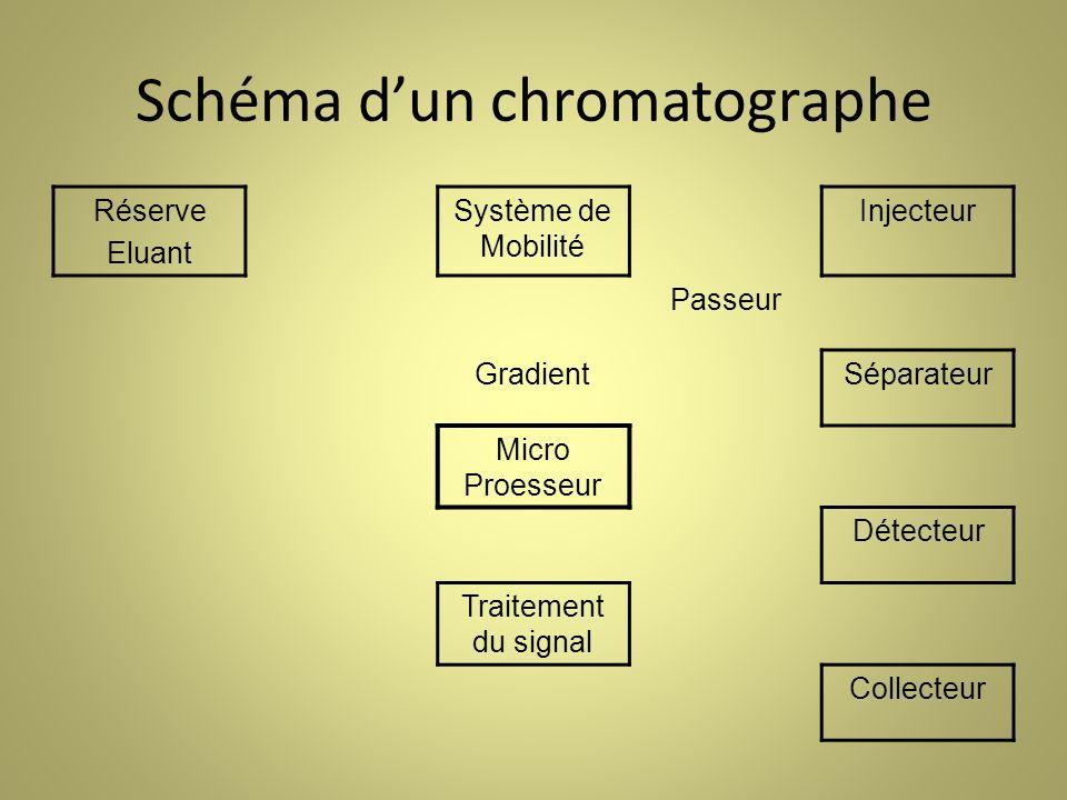 Schéma dun chromatographe Réserve Eluant Système de Mobilité Injecteur Passeur GradientSéparateur Micro Proesseur Détecteur Traitement du signal Collecteur