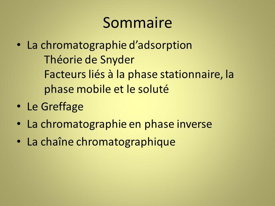 Sommaire La chromatographie dadsorption Théorie de Snyder Facteurs liés à la phase stationnaire, la phase mobile et le soluté Le Greffage La chromatographie en phase inverse La chaîne chromatographique