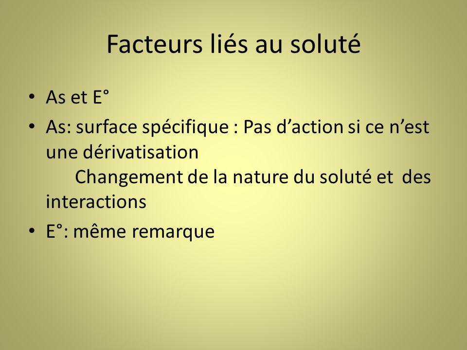 Facteurs liés au soluté As et E° As: surface spécifique : Pas daction si ce nest une dérivatisation Changement de la nature du soluté et des interactions E°: même remarque