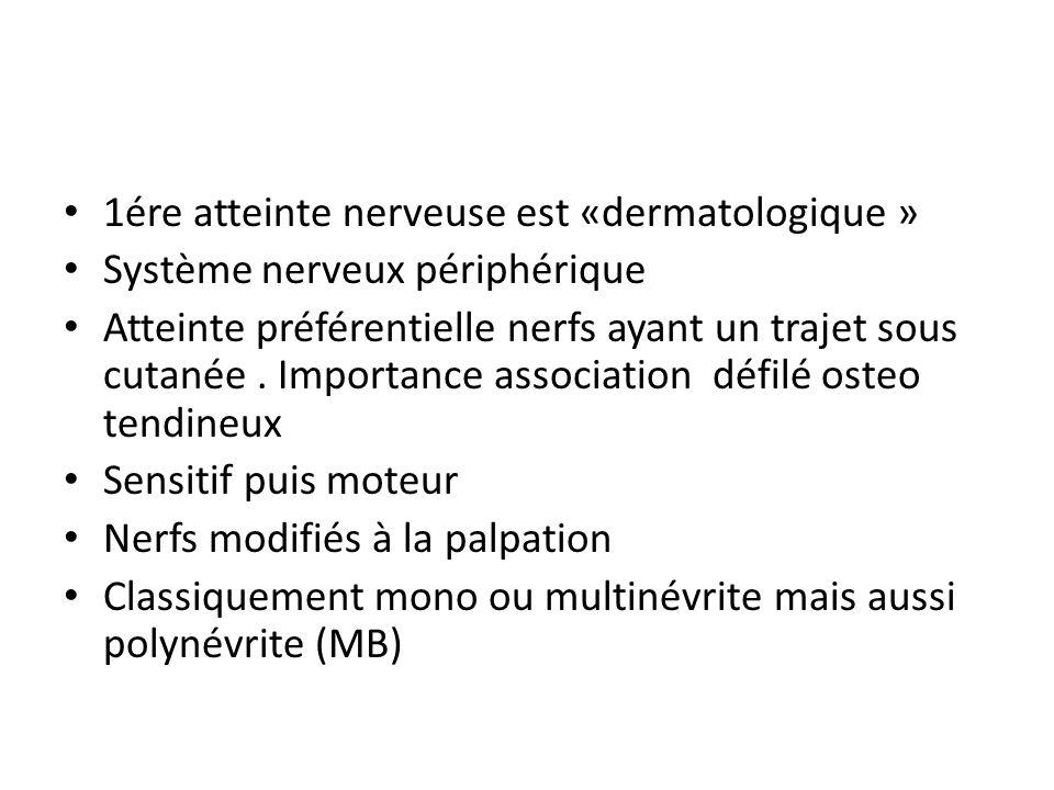 1ére atteinte nerveuse est «dermatologique » Système nerveux périphérique Atteinte préférentielle nerfs ayant un trajet sous cutanée. Importance assoc
