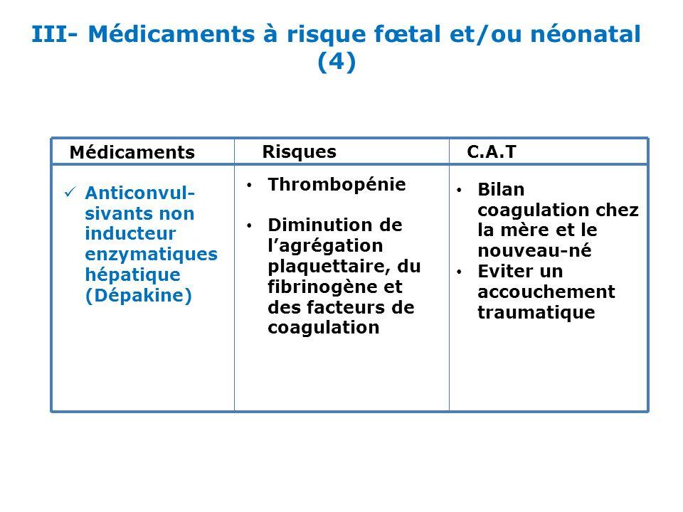 III- Médicaments à risque fœtal et/ou néonatal (4) Médicaments RisquesC.A.T Anticonvul- sivants non inducteur enzymatiques hépatique (Dépakine) Thromb