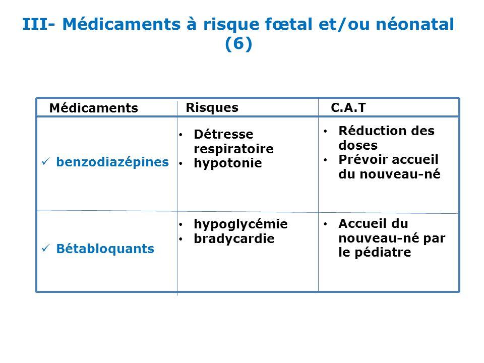 III- Médicaments à risque fœtal et/ou néonatal (6) Médicaments RisquesC.A.T benzodiazépines Réduction des doses Prévoir accueil du nouveau-né Détresse
