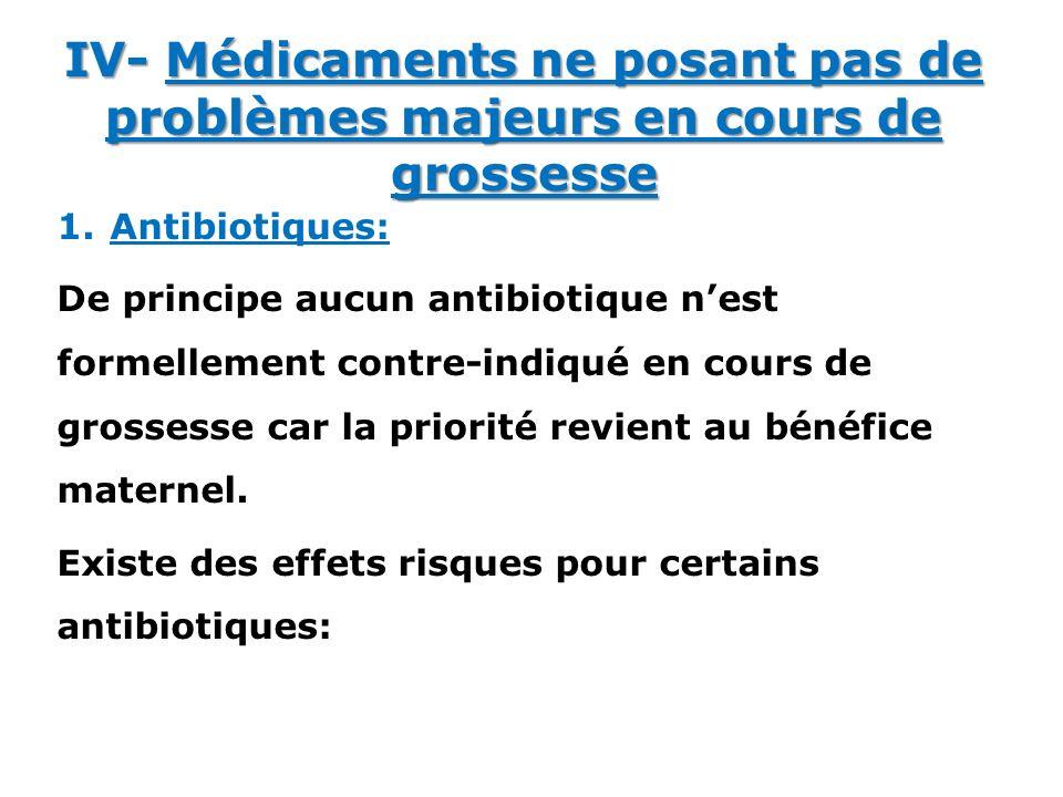 1.Antibiotiques: De principe aucun antibiotique nest formellement contre-indiqué en cours de grossesse car la priorité revient au bénéfice maternel. E