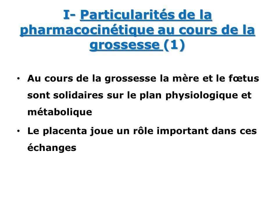 I- Particularités de la pharmacocinétique au cours de la grossesse (1) Au cours de la grossesse la mère et le fœtus sont solidaires sur le plan physio