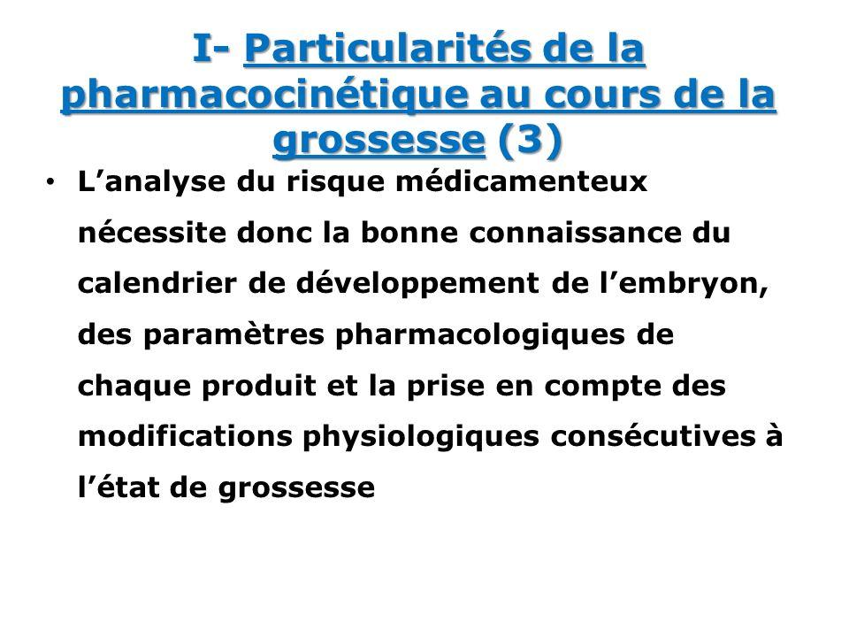 Lanalyse du risque médicamenteux nécessite donc la bonne connaissance du calendrier de développement de lembryon, des paramètres pharmacologiques de c