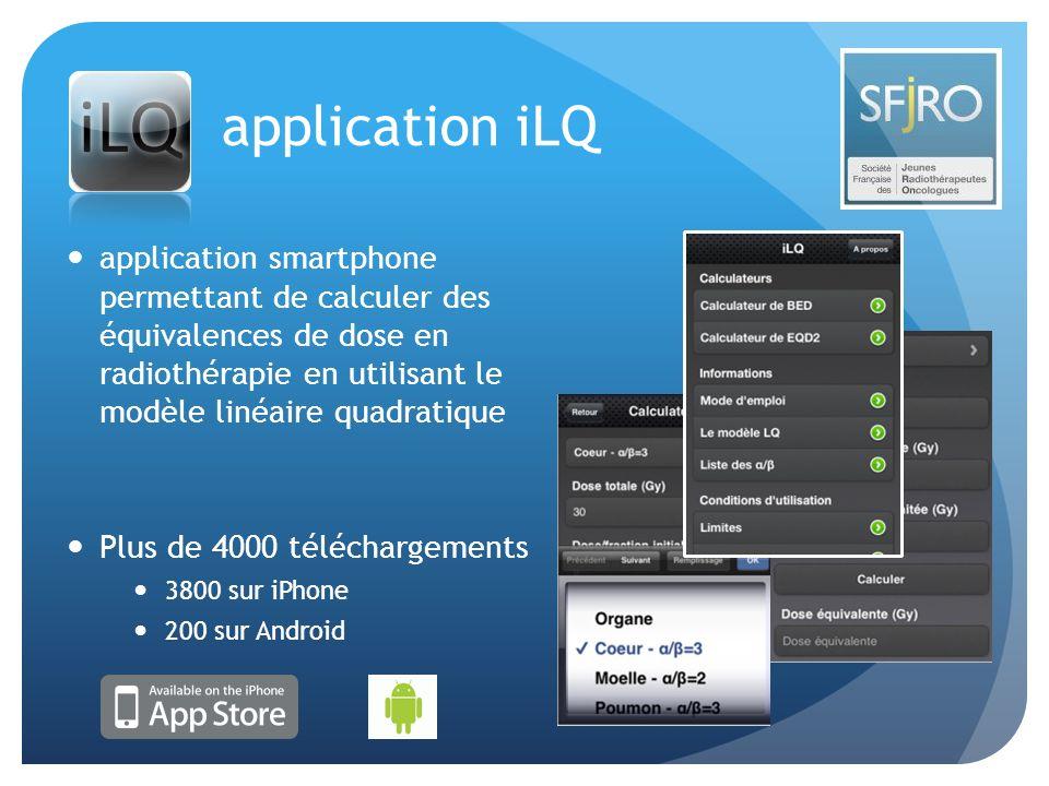 application iLQ application smartphone permettant de calculer des équivalences de dose en radiothérapie en utilisant le modèle linéaire quadratique Pl