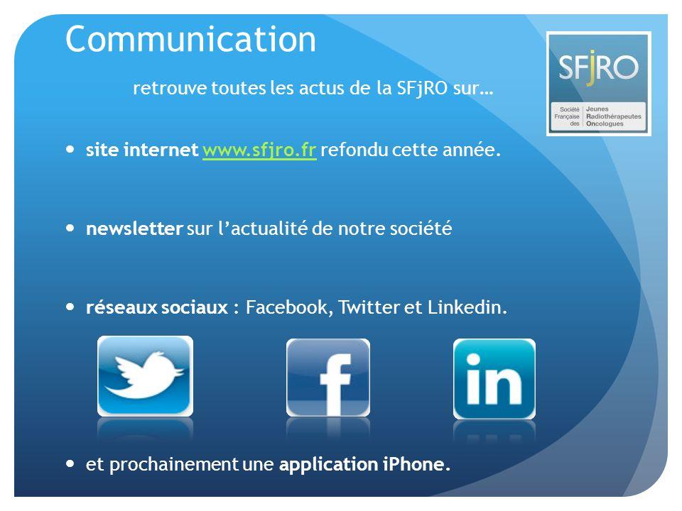 Communication retrouve toutes les actus de la SFjRO sur… site internet www.sfjro.fr refondu cette année.www.sfjro.fr newsletter sur lactualité de notr