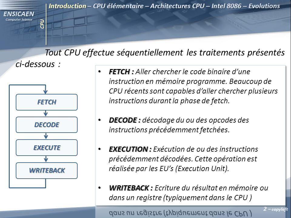 CPU Introduction – CPU élémentaire – Architectures CPU – Intel 8086 – Evolutions Tout CPU effectue séquentiellement les traitements présentés ci-desso