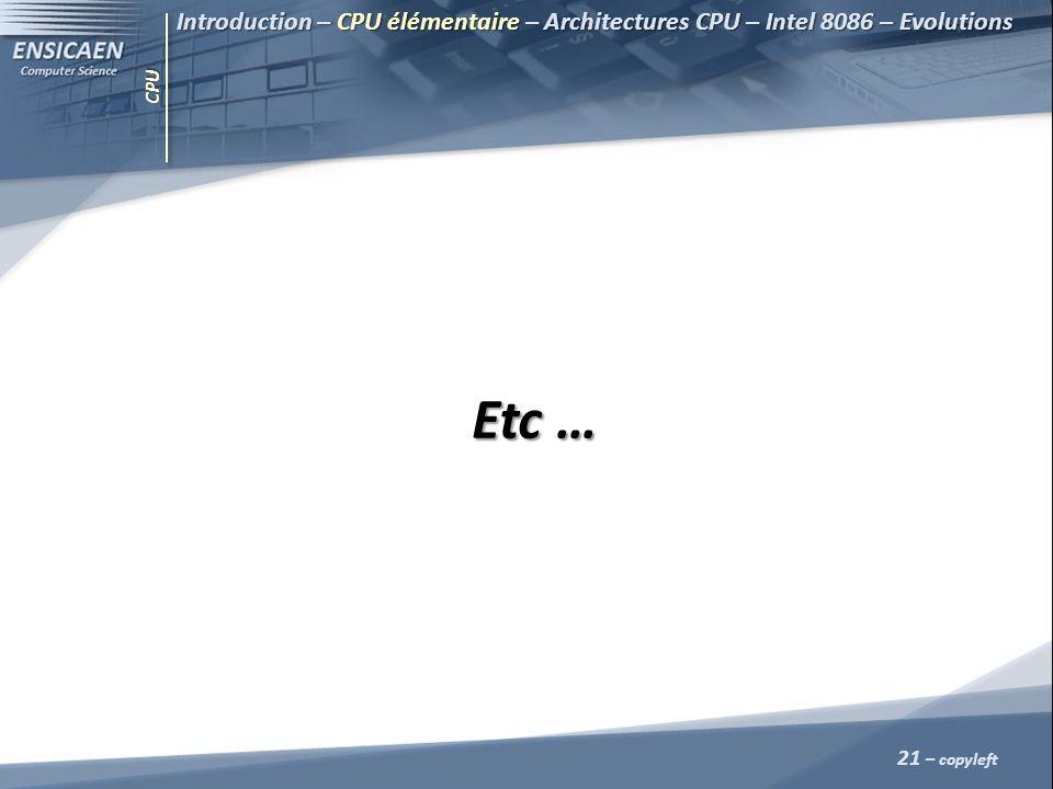 CPU 21 – copyleft Etc … Introduction – CPU élémentaire – Architectures CPU – Intel 8086 – Evolutions