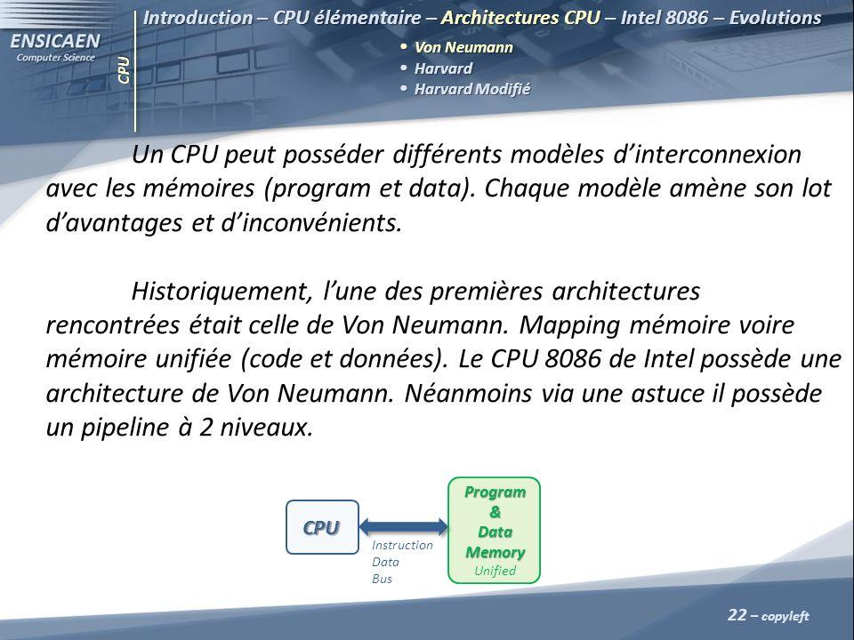 CPU 22 – copyleft Introduction – CPU élémentaire – Architectures CPU – Intel 8086 – Evolutions Von Neumann Harvard Harvard Harvard Modifié Harvard Mod