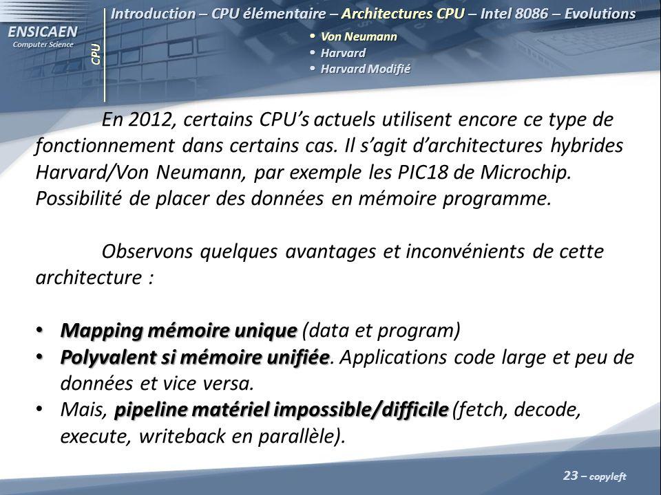 CPU 23 – copyleft Introduction – CPU élémentaire – Architectures CPU – Intel 8086 – Evolutions Von Neumann Harvard Harvard Harvard Modifié Harvard Mod