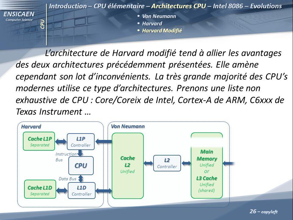 CPU 26 – copyleft Introduction – CPU élémentaire – Architectures CPU – Intel 8086 – Evolutions Von Neumann Harvard Harvard Harvard Modifié Harvard Mod