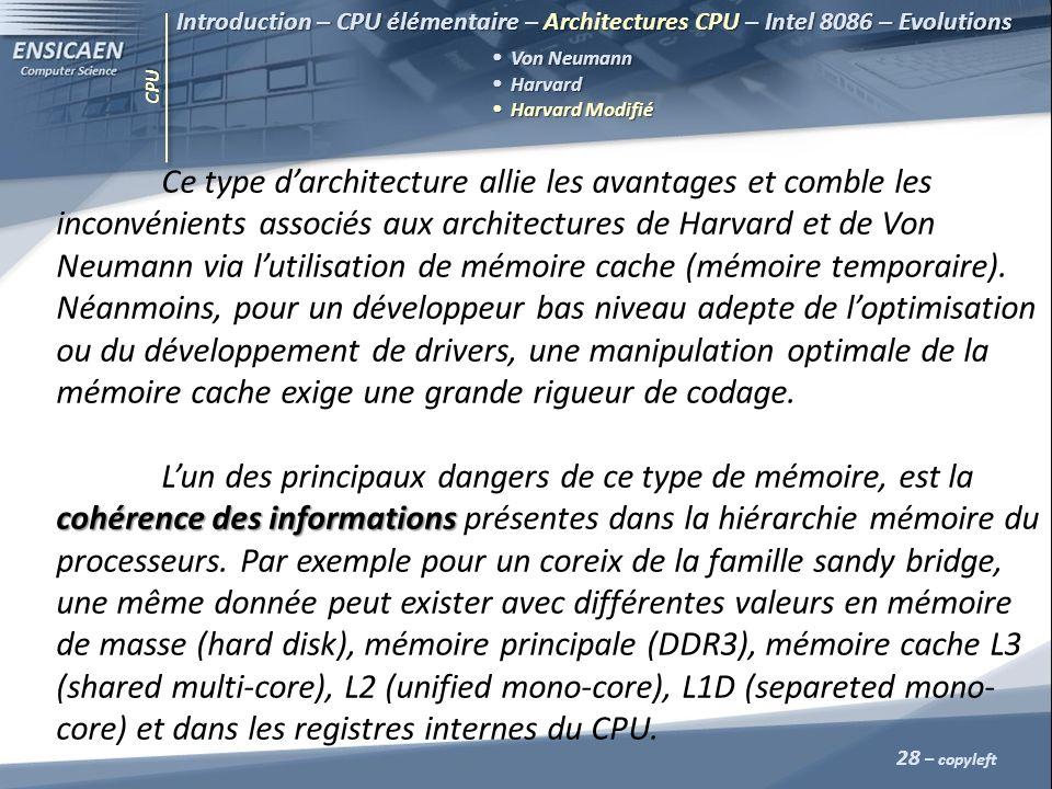 CPU 28 – copyleft Introduction – CPU élémentaire – Architectures CPU – Intel 8086 – Evolutions Von Neumann Harvard Harvard Harvard Modifié Harvard Mod