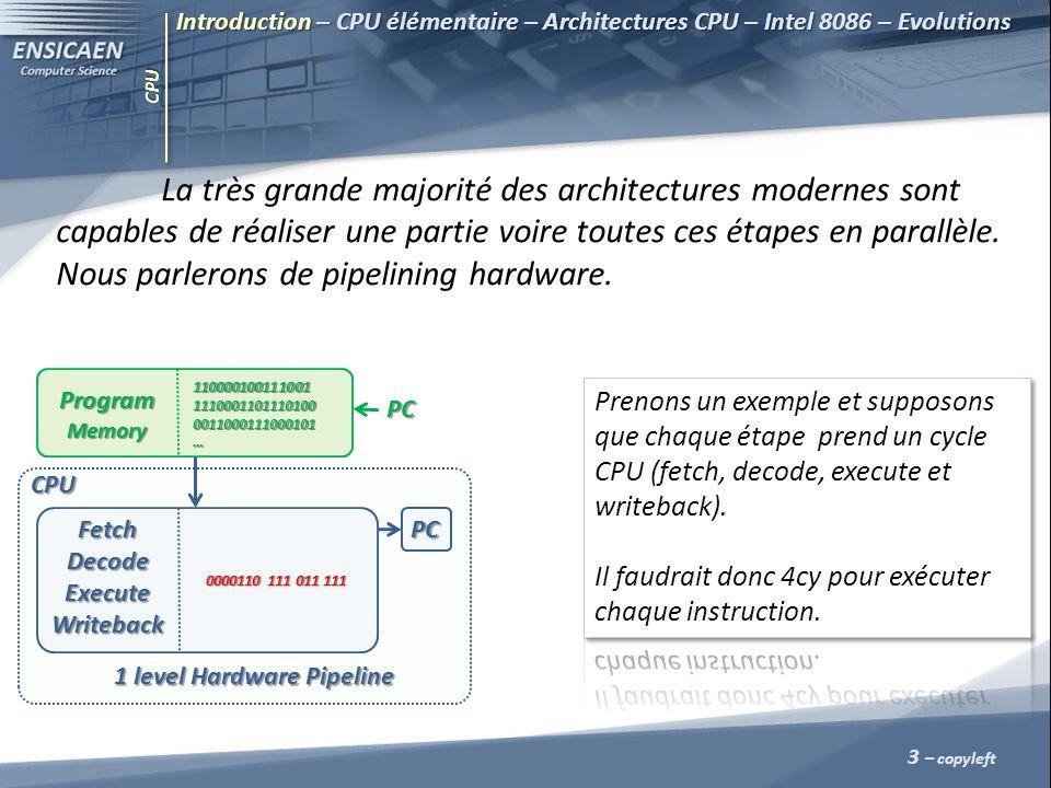 CPU La très grande majorité des architectures modernes sont capables de réaliser une partie voire toutes ces étapes en parallèle. Nous parlerons de pi