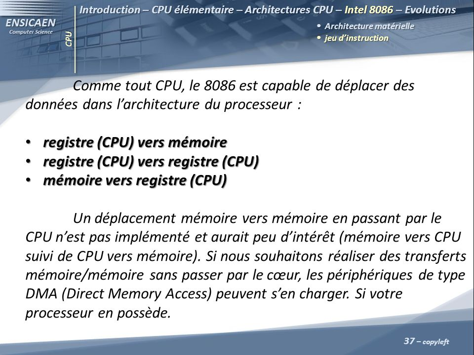 CPU 37 – copyleft Introduction – CPU élémentaire – Architectures CPU – Intel 8086 – Evolutions Architecture matérielle jeu dinstruction jeu dinstructi