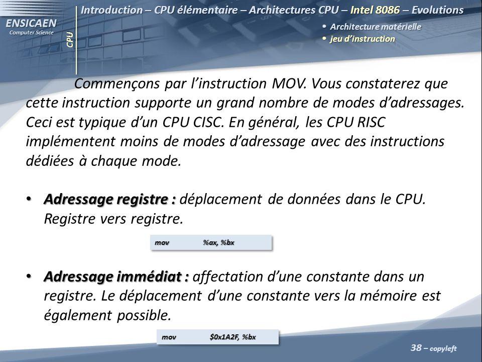 CPU 38 – copyleft Introduction – CPU élémentaire – Architectures CPU – Intel 8086 – Evolutions Architecture matérielle jeu dinstruction jeu dinstructi