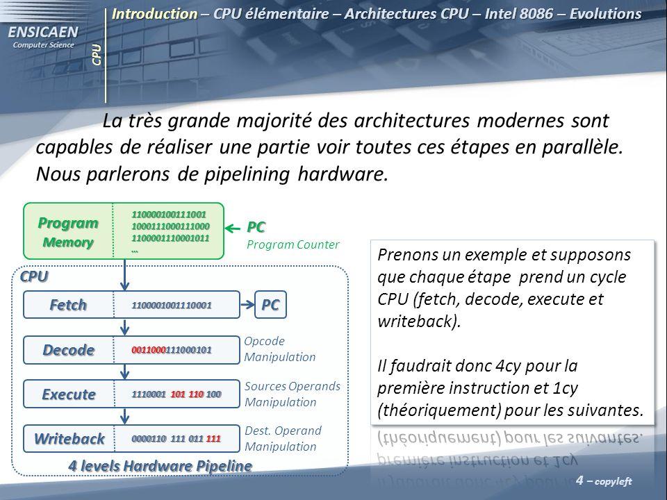 CPU La très grande majorité des architectures modernes sont capables de réaliser une partie voir toutes ces étapes en parallèle. Nous parlerons de pip